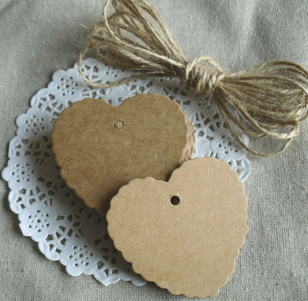 Wedding Favor Tags With String : ... Kraft Paper Card Wedding Scallop Label Gift Tags & String 20 eBay