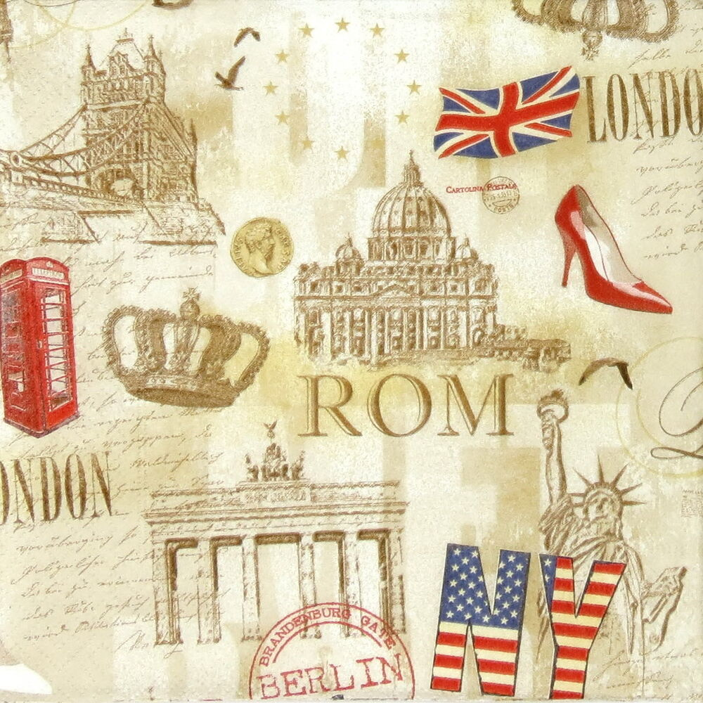 4x paper napkins for decoupage vintage capitals all over for Vita craft factory outlet