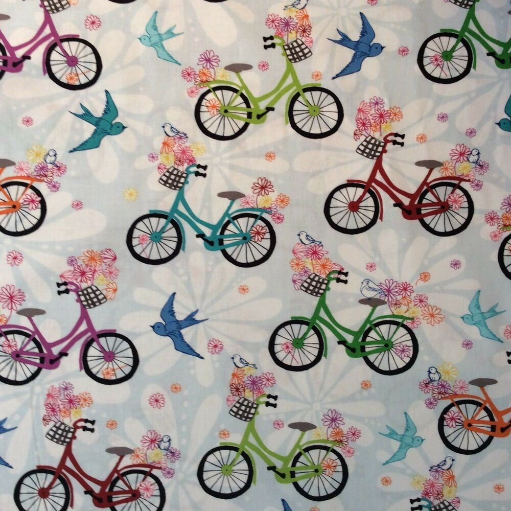 Rk96 groovy disco bicycles bikes birds floral daisy quilt for Cotton quilting fabric