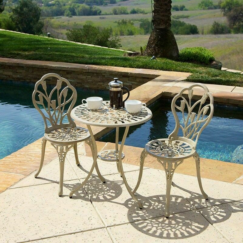 Outdoor patio furniture 3pc cast aluminum tulip design for Small metal patio set