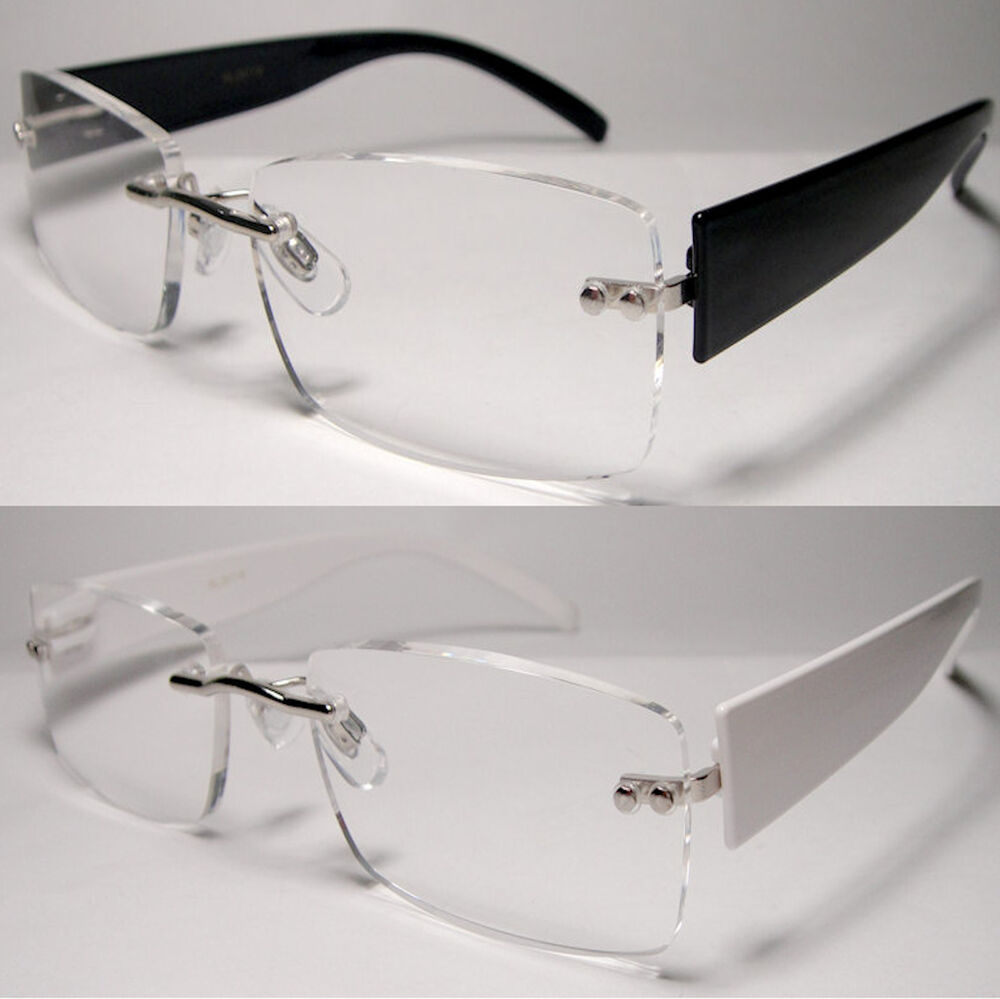 Rimless Clear Glasses : Rimless Frameless Clear Lens Reading Glasses Power ...