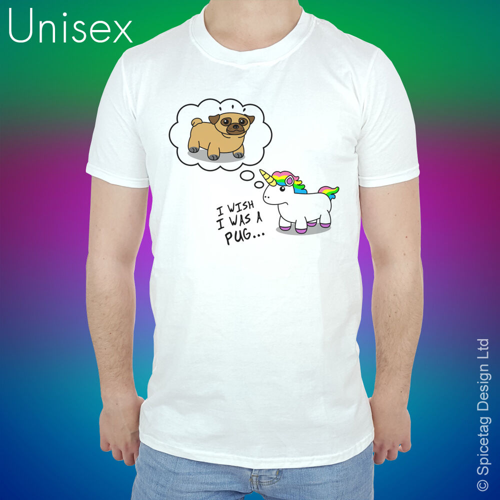Pug unicorn wish t shirt pugs dogs funny animal t shirt for Animal tee shirts online