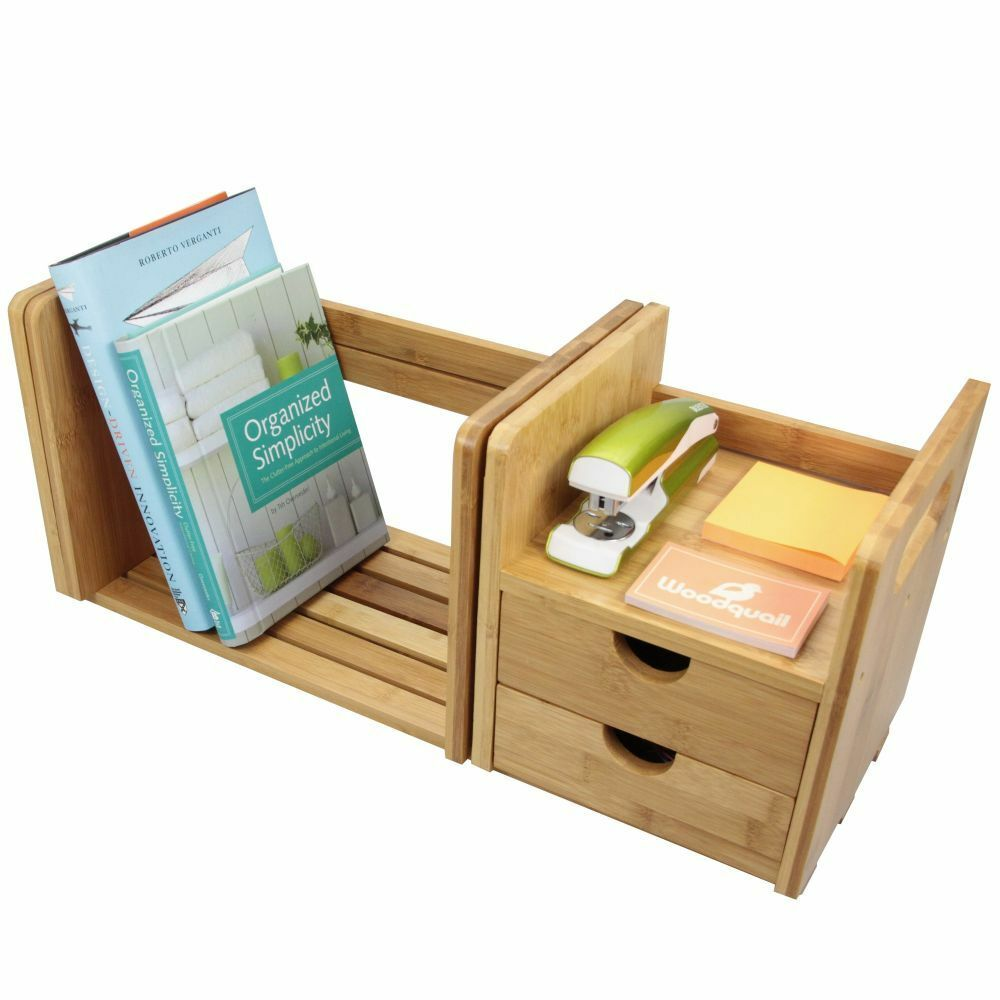 Desktop expandable adjustable bookshelf with drawers bamboo desk organiser tidy ebay - Bamboo desk organiser ...