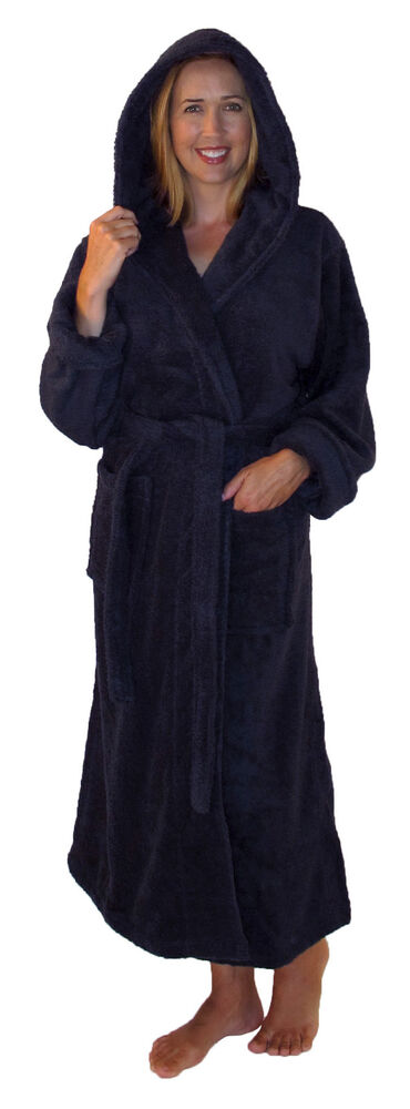 bathrobe with hood turkish cotton terry full length sleeves mens womens spa robe ebay. Black Bedroom Furniture Sets. Home Design Ideas