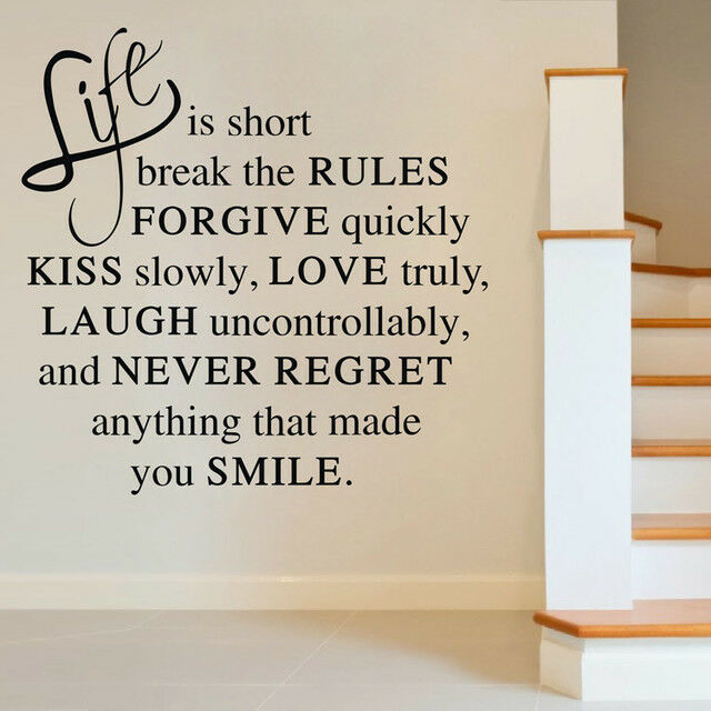 Wall Art Quotes About Life : Life is short quote wall art decor vinyl sticker removable