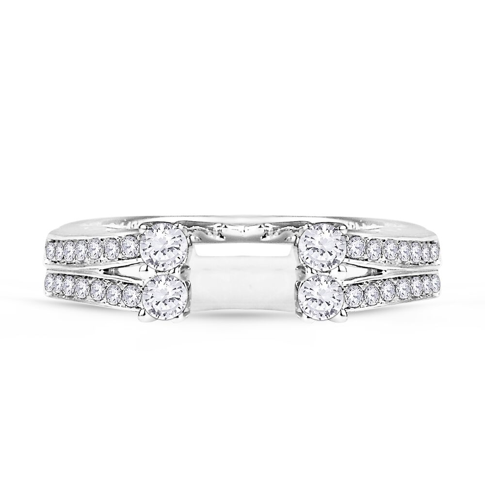 14k white gold diamonds station solitaire wrap ring guard