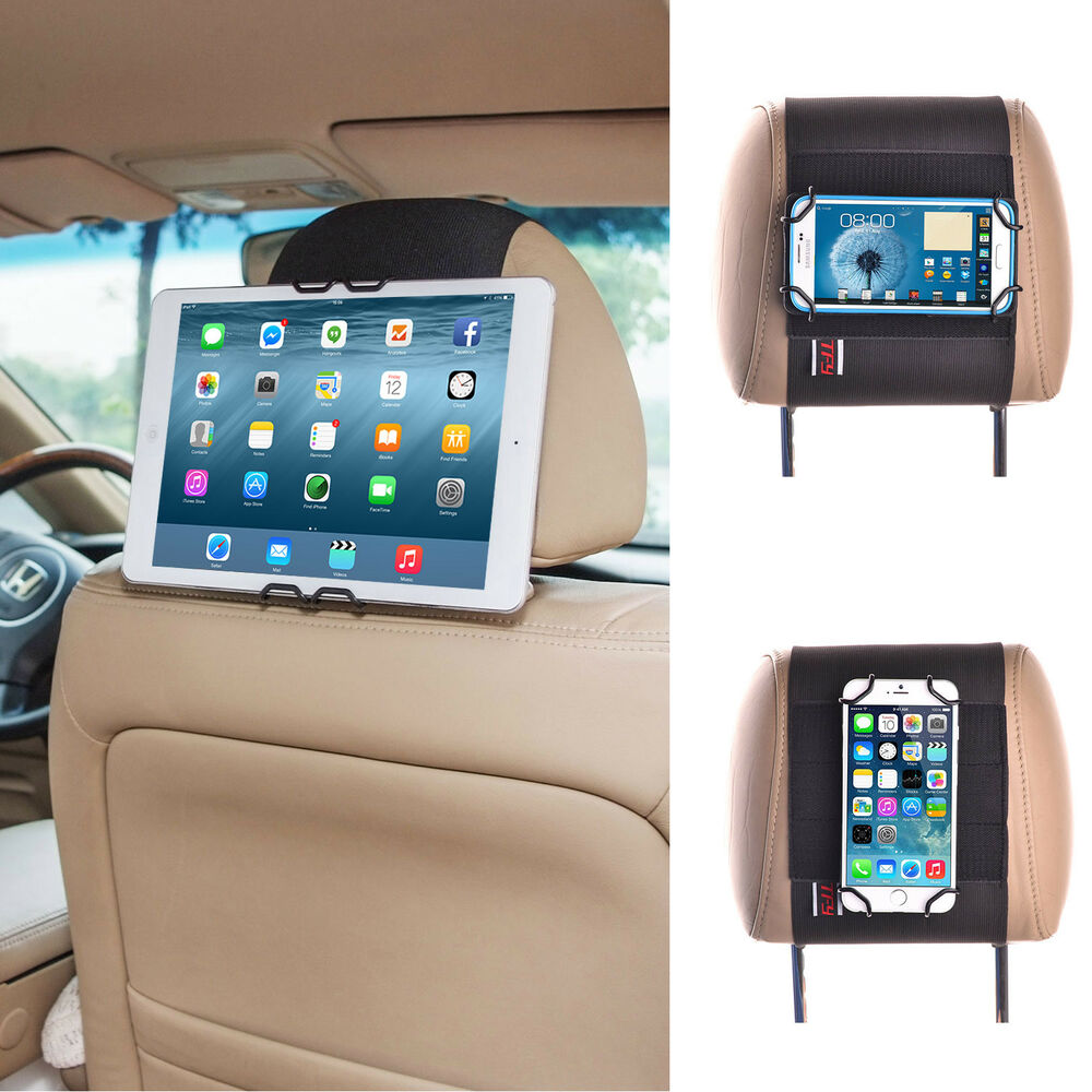 universal car headrest mount holder for iphone ipad mini smartphone tablet ebay. Black Bedroom Furniture Sets. Home Design Ideas