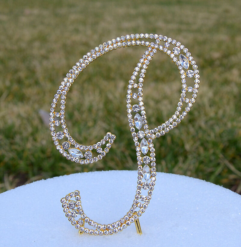 gold bling wedding cake topper 5 quot rhinestone gold letter p bling wedding cake 14748