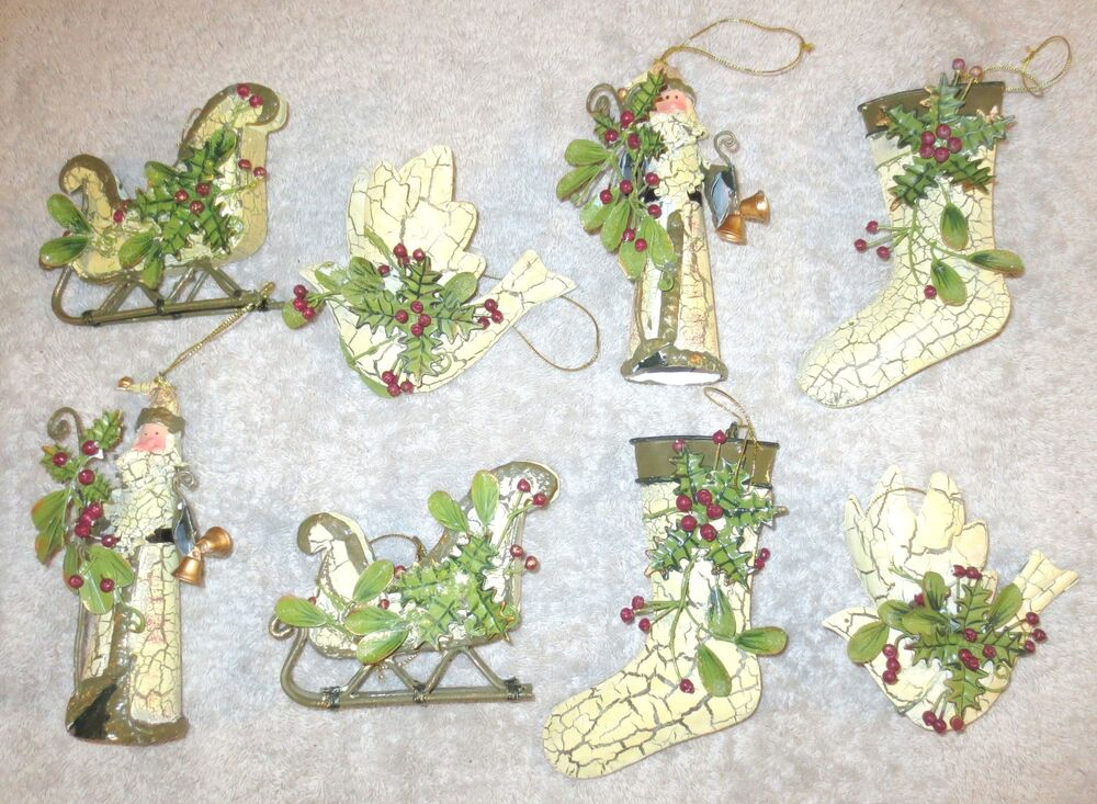 Set of 8 PAINTED TIN ORNAMENTS - Father Christmas Stocking Sleigh Dove ...