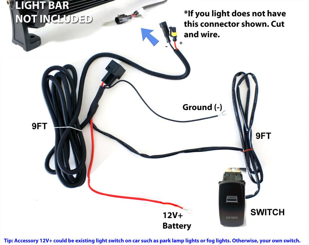 40a fog work led light bar wiring harness relay fuse kit ... on off selector switch wiring diagram on off led light wiring