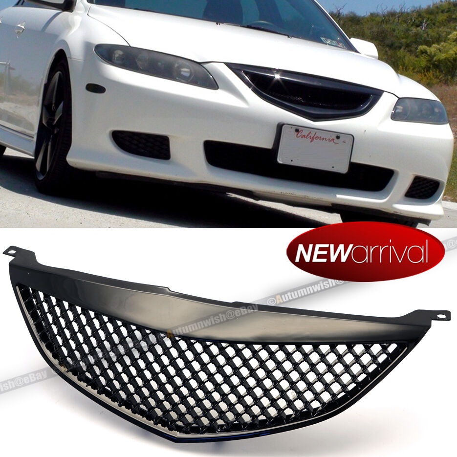 Fit 03 05 Mazda 6 Plastic Gloss Black Honeycomb Mesh Front