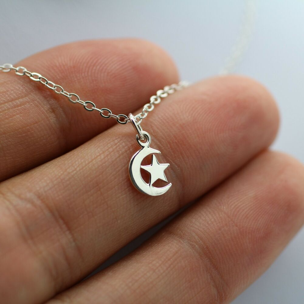 crescent moon and necklace 925 sterling silver