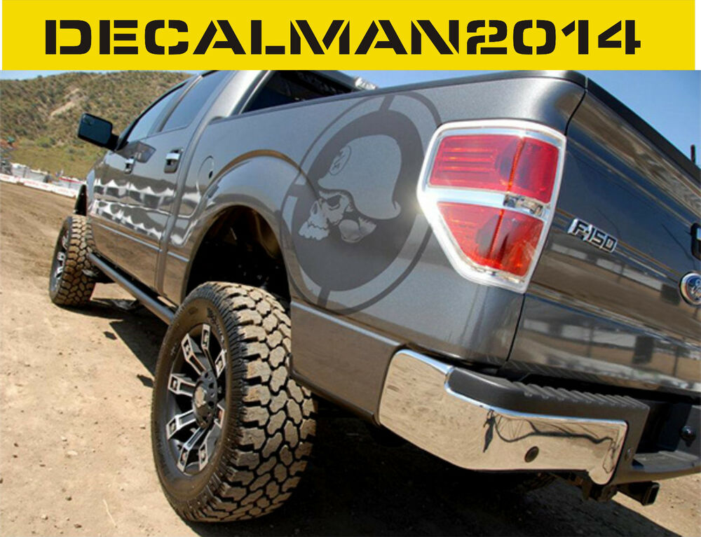 Pair Metal Mulisha Skull X Bedside Vinyl Decals F Ram - F250 decalsmulisha skullxwindow bed decal decals f f ram