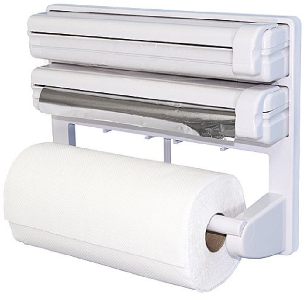 triple paper dispenser for cling film wrap aluminium foil kitchen roll holder ebay. Black Bedroom Furniture Sets. Home Design Ideas