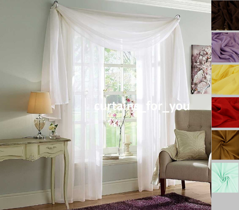 VOILE CURTAINS SCARF PELMET VALANCE 17 COLOURS AMAZING FOR