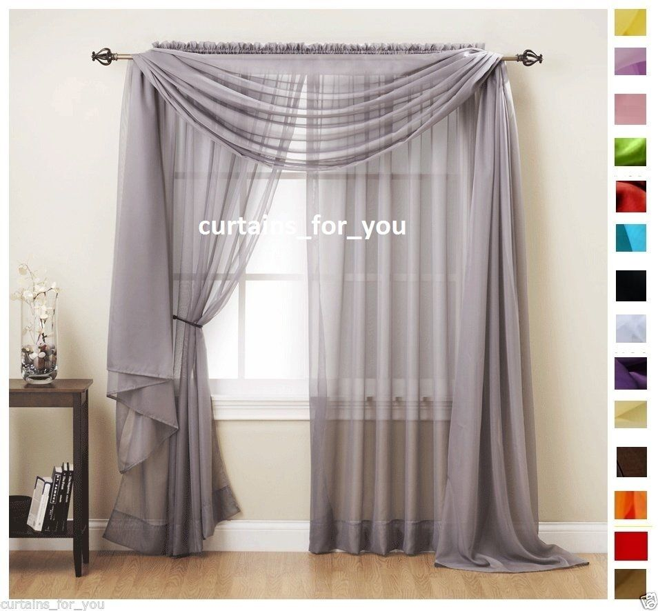 stunning Voile Valance Part - 3: VOILE CURTAINS SCARF PELMET VALANCE 17 COLOURS AMAZING FOR YOU ROMANTIC  STYLE | eBay