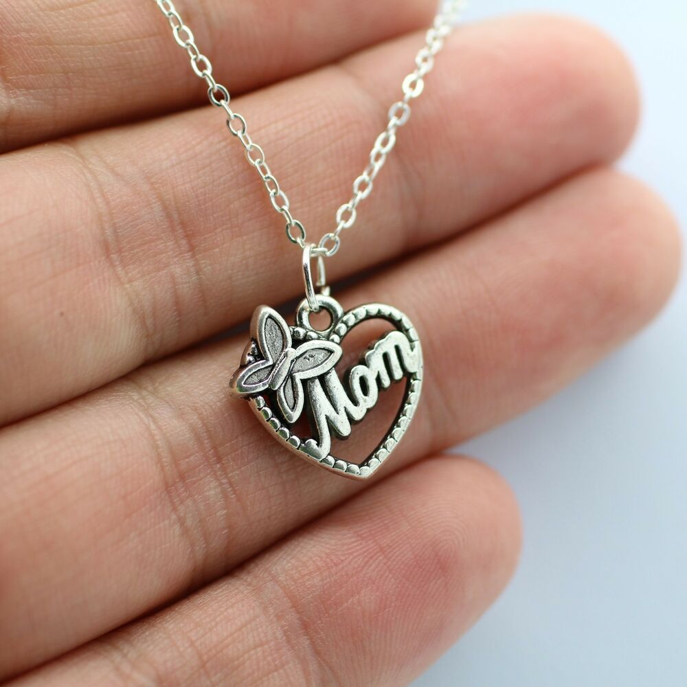 Mothers Charm Bracelet: Silver Mom Charm Necklace