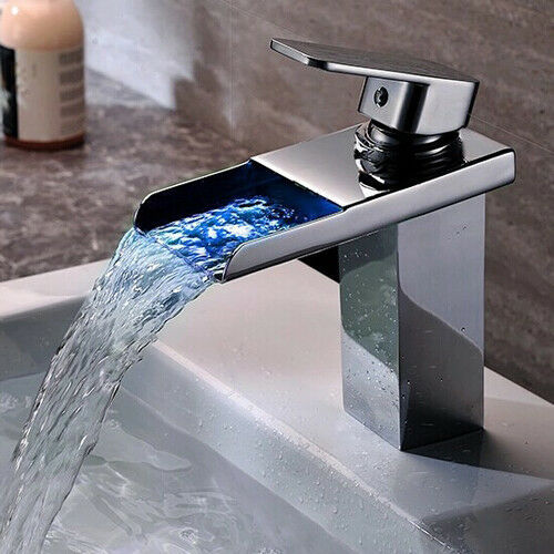 "7 Faucet Finishes For Fabulous Bathrooms: 7"" LED Bathroom Faucet Waterfall Chrome/Brushed Nickel/Oil"