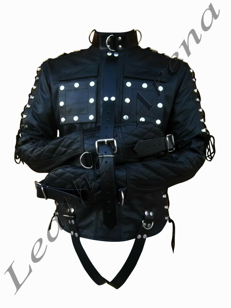 GENUINE BLACK LEATHER HEAVY DUTY STRAIGHT JACKET BONDAGE QUILTED ...