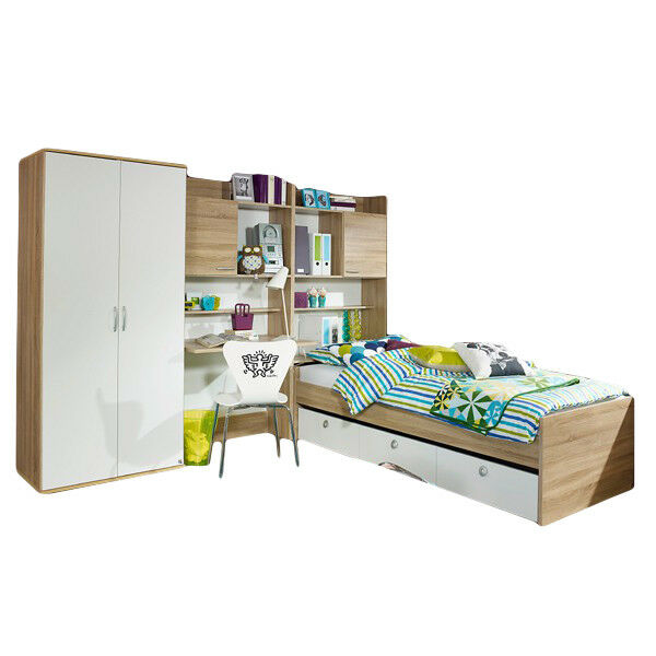 kinderzimmer 4 tlg kleiderschrank regal mit schreibtisch bettkasten bett neu ebay. Black Bedroom Furniture Sets. Home Design Ideas