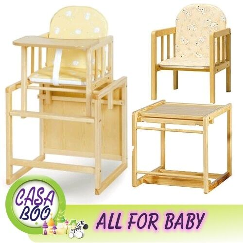 Wood Combo Chair: Baby Wooden High Chair 3 In 1 With Cushion & Harness Play