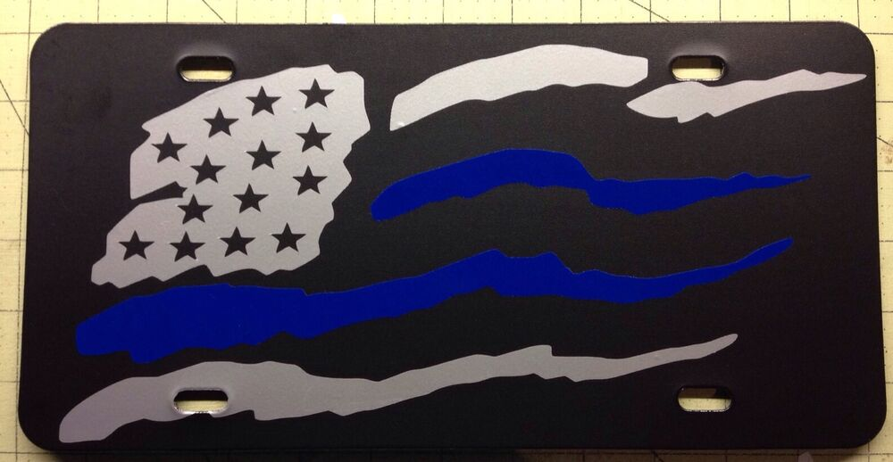 THIN BLUE LINE License Plate USA Subdued American FLAG Police LEO ...