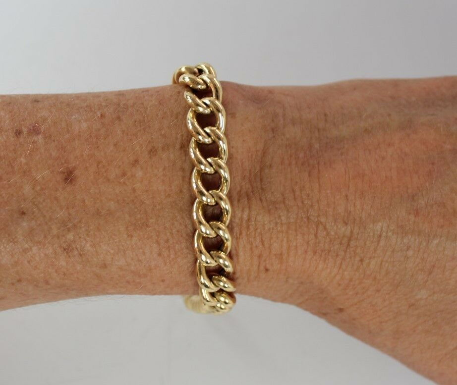 Gucci Link Chain >> Vintage Mens Womens 18K Yellow Gold Link Bracelet 8.5 ...