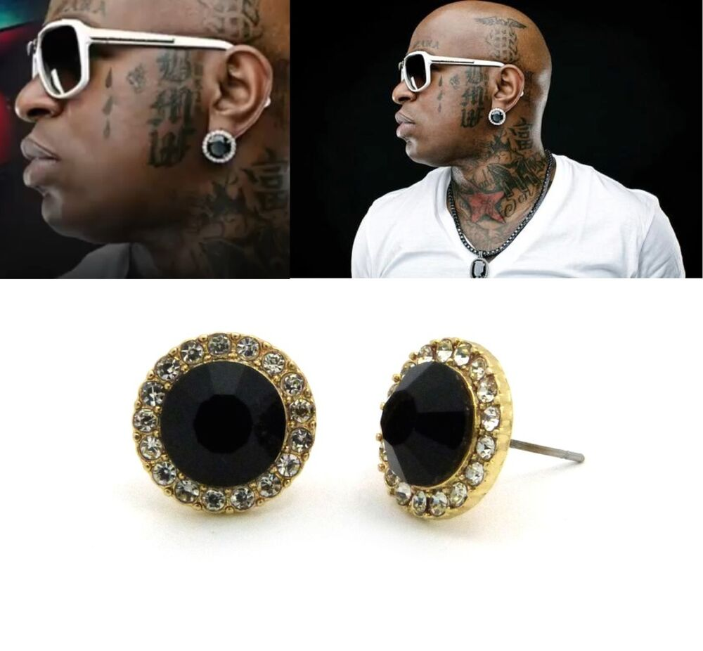 Mens hip hop gold black onyx cubic zirconia round stud for Men s jewelry earrings