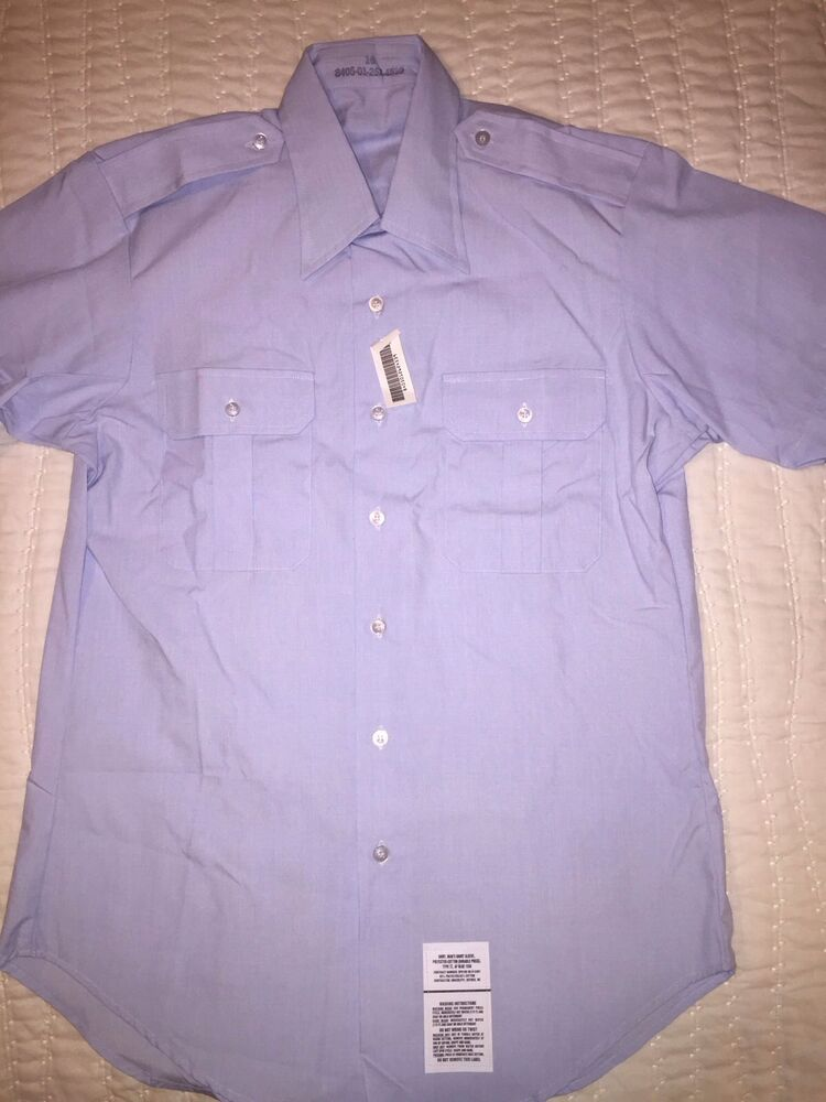 Mens military issue short sleeve polyester cotton blend for Polyester button up shirt