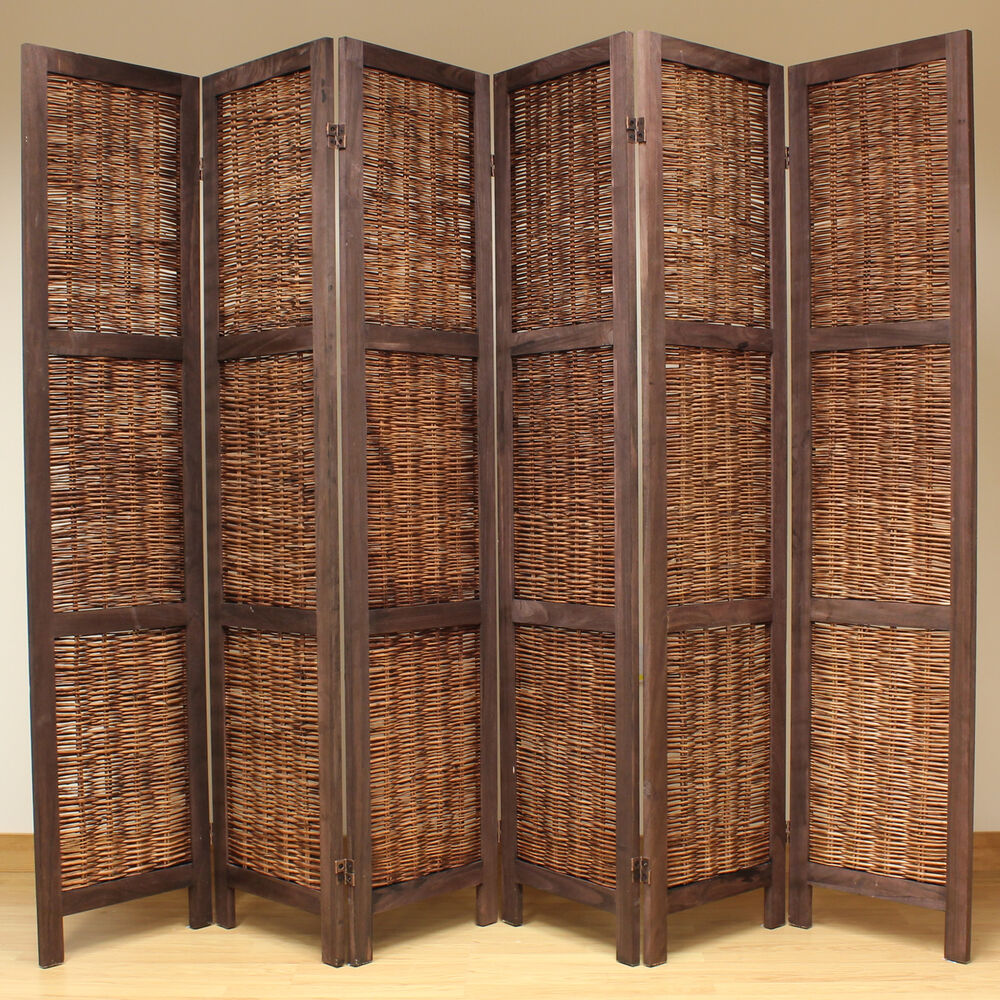 Brown 6 Panel Wood Frame Wicker Room Divider Privacy Screen Separator Partiti