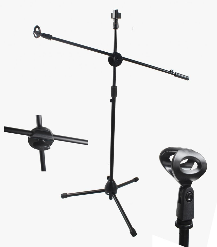 dual mic clip microphone stand 360 degree rotating folding type boom arm tripod ebay. Black Bedroom Furniture Sets. Home Design Ideas