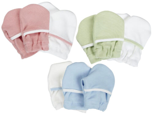 2 Pair Safety 1st Soft Cotton Baby No Scratch Mittens Green Blue Pink - 806503