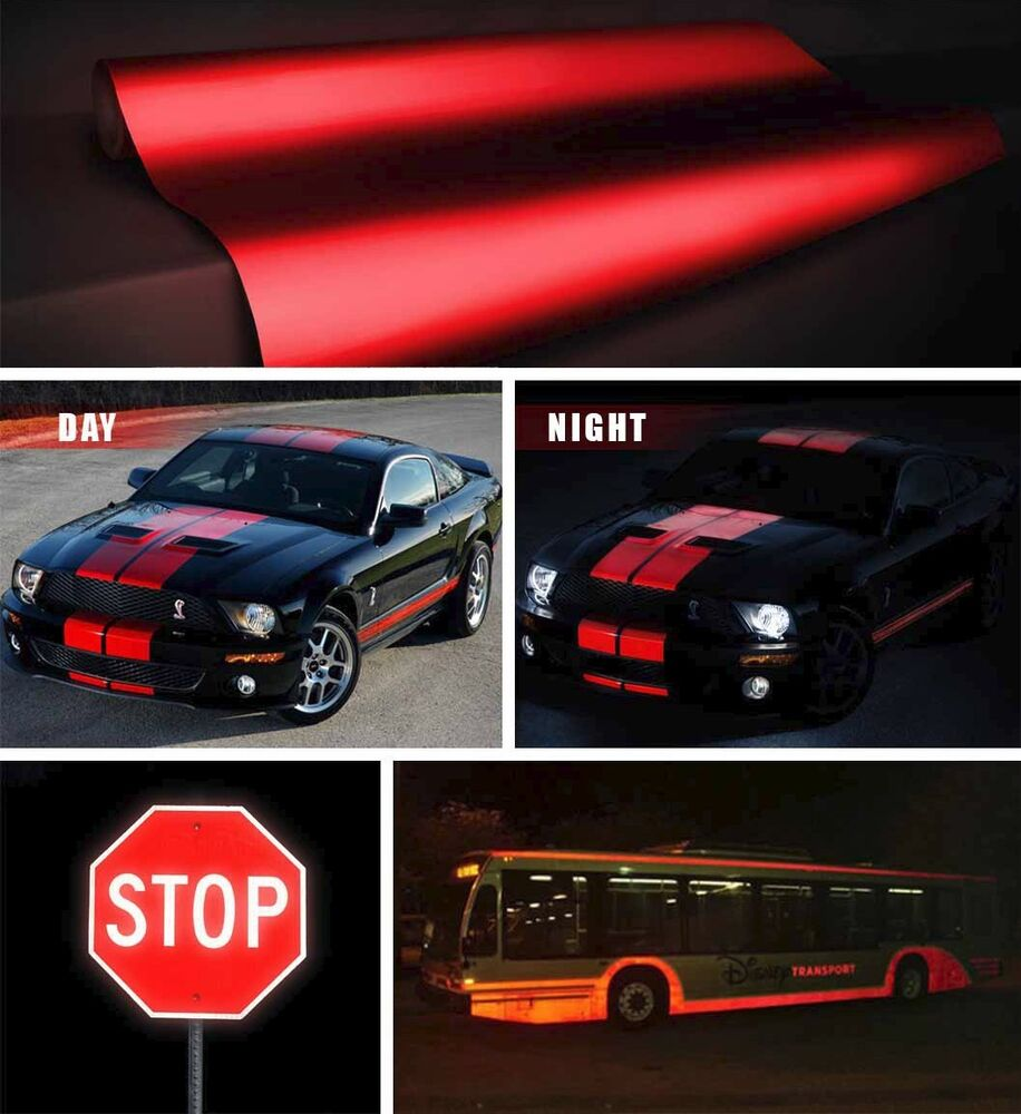 Red Reflective Vinyl Car Vehicle Boat Wrap Film 25ft X 4ft