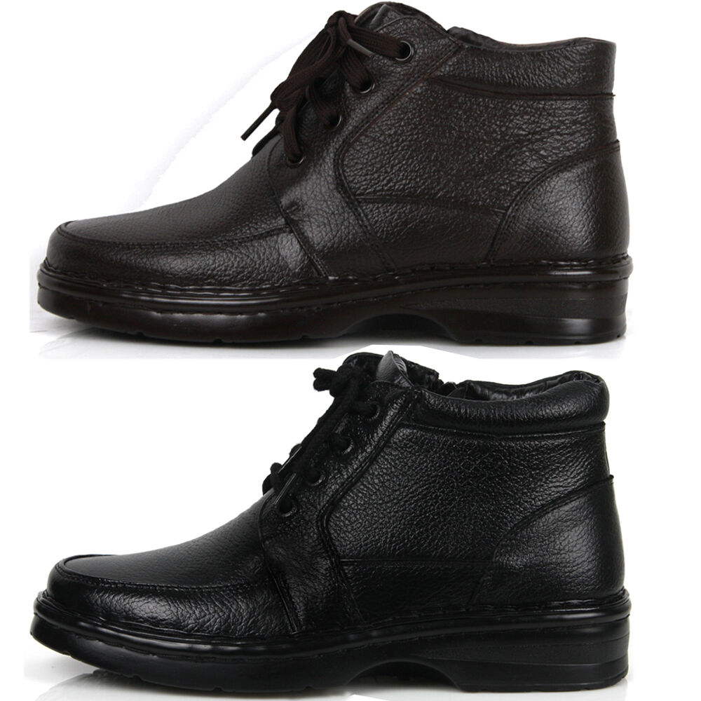 new mens casual dress leather snow warm winter lace up