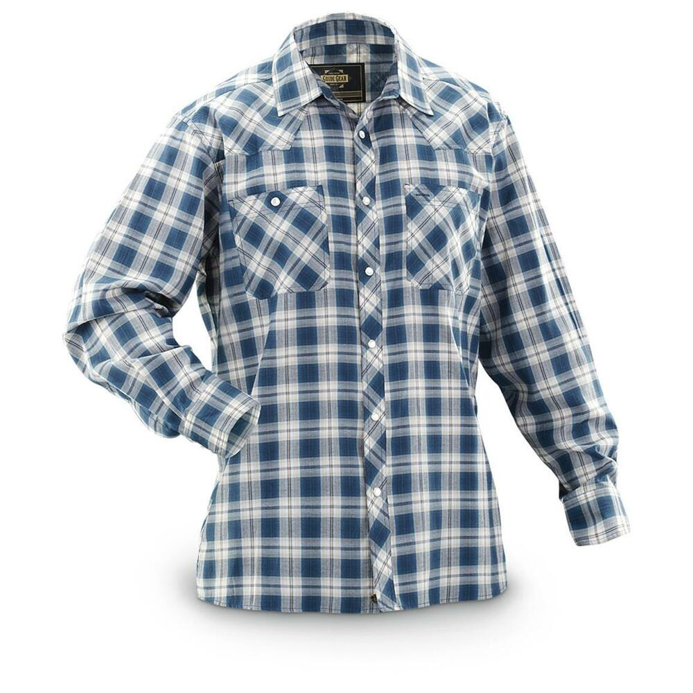 Guide gear men 39 s western shirt plaid long sleeve red for Ranch dress n rodeo shirts