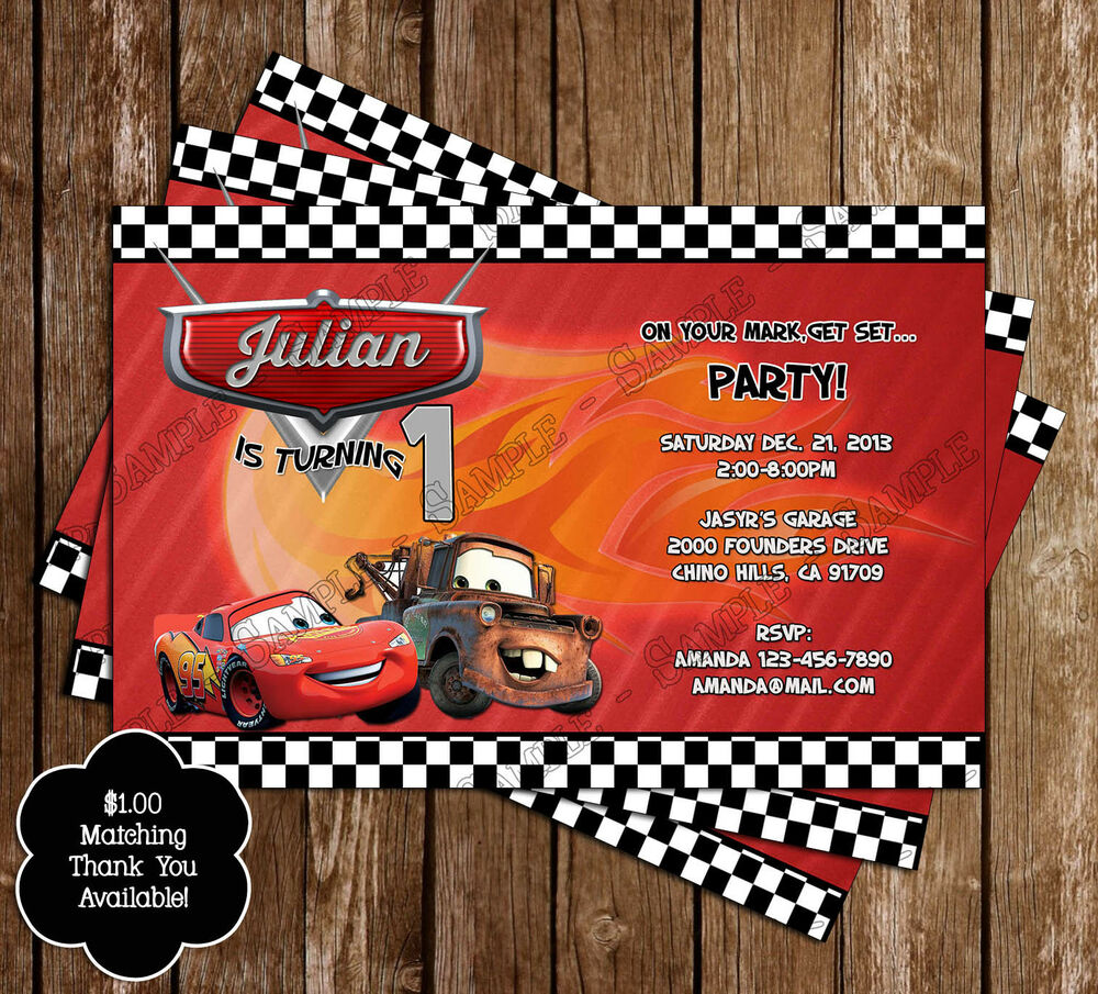 Details About Disney Cars Birthday Party Invitations