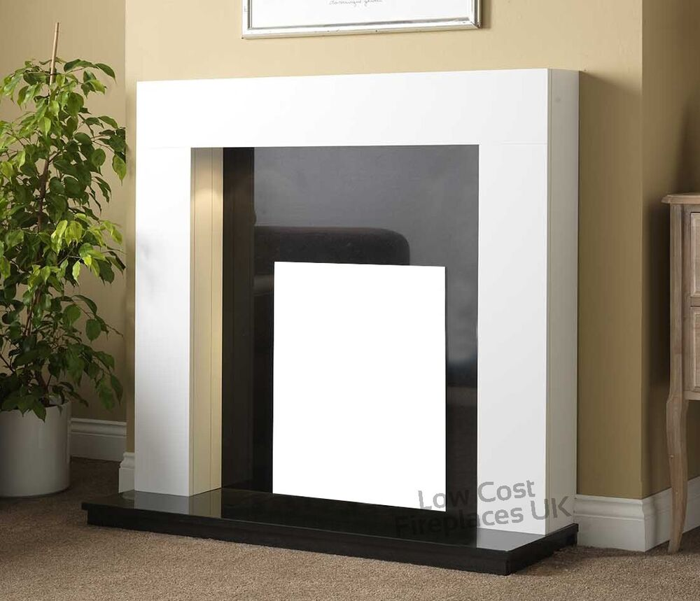 Electric White Surround Black Wall Modern Fire Fireplace