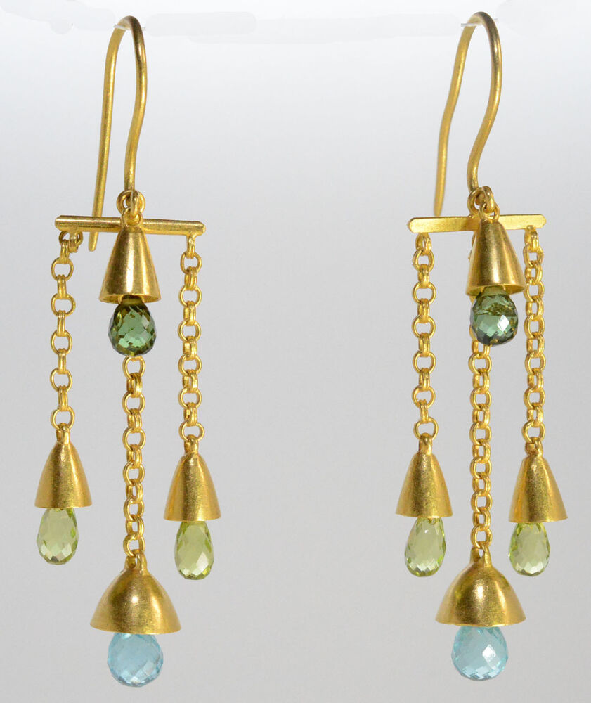 marie helene de taillac 22kt yellow gold earrings ebay. Black Bedroom Furniture Sets. Home Design Ideas
