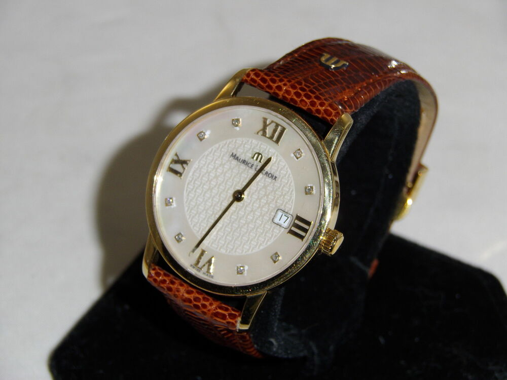 maurice lacroix 18k solid gold date mens wristwatch