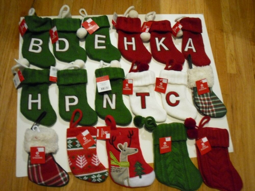 New christmas mini knit stockings holiday decorations for Letter n decorations