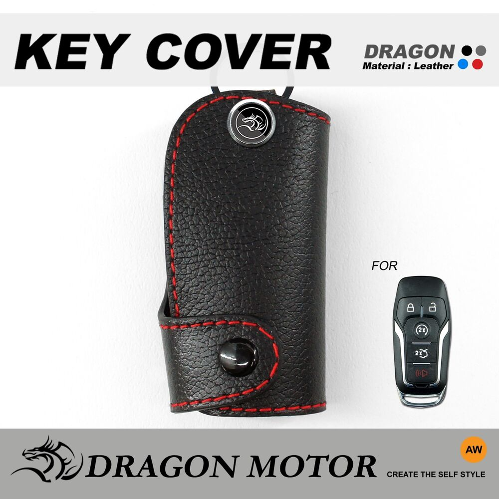 leather key fob holder case chain cover fit  ford mustang  edge  ebay