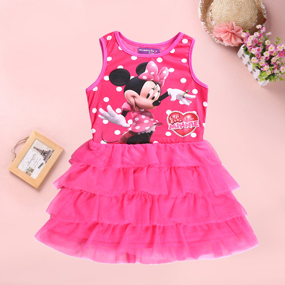 Girls party dress flower girl wedding - Mouse Girl Fancy Tutu Dress Kids Cartoon Mickey Minnie Children