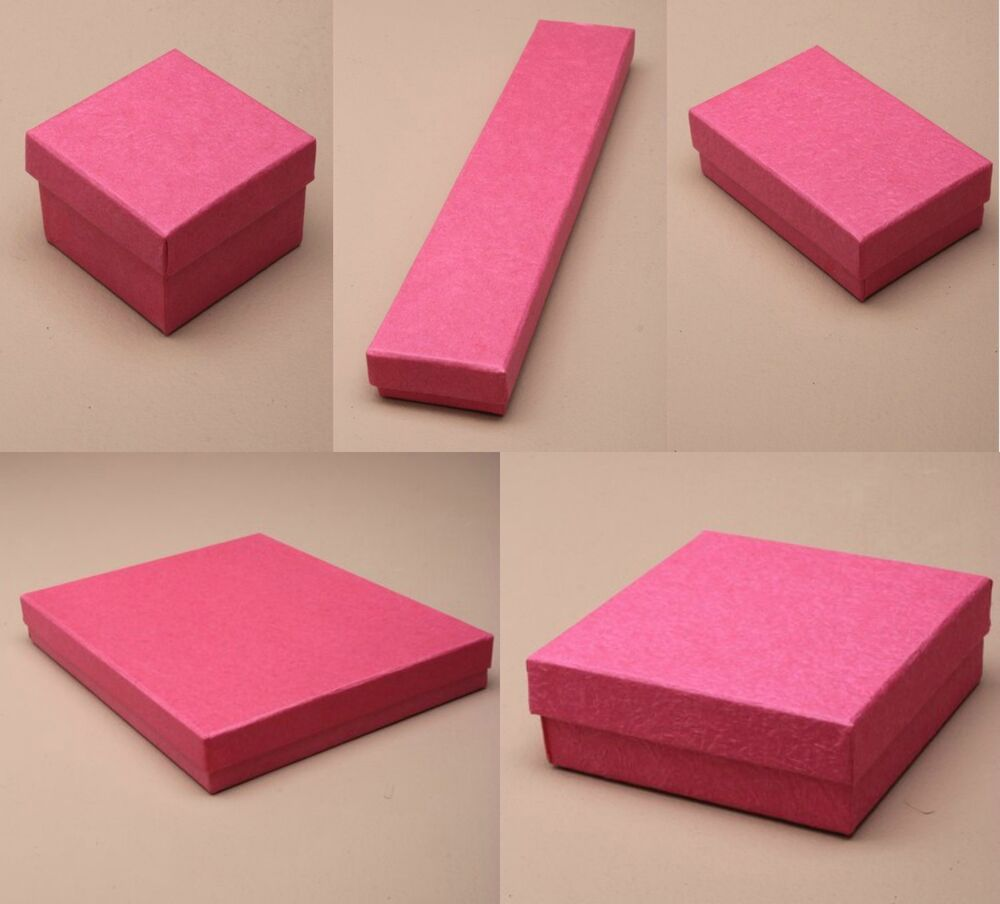Pack of 12 Hot Pink Card Gift Jewellery Boxes Black Insert ...