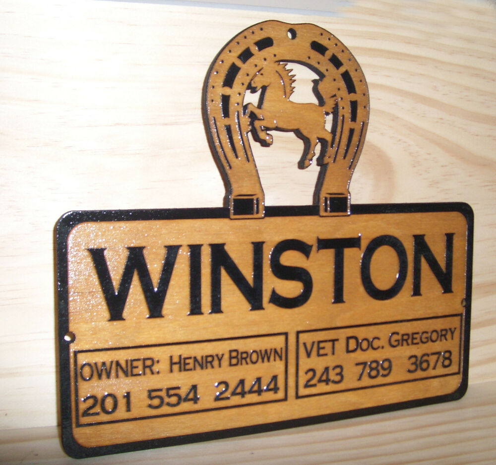 Personalized WOODEN Horse Stall Barn Name Plate Sign