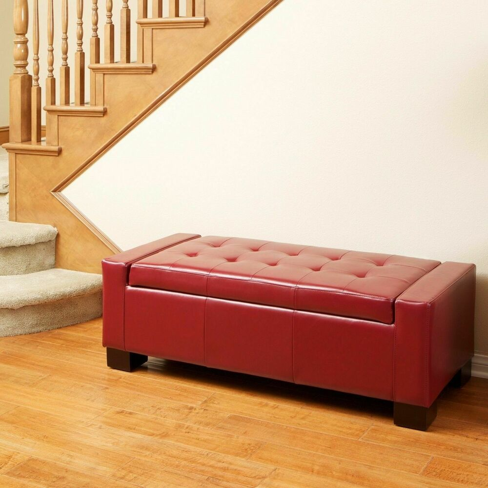 Modern Design Large Tufted Red Leather Storage Ottoman Bench Ebay