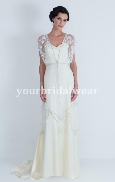 Wedding Dresses Vintage Sheath 20th 1920 Lace V Neck Sleeves Claire ...