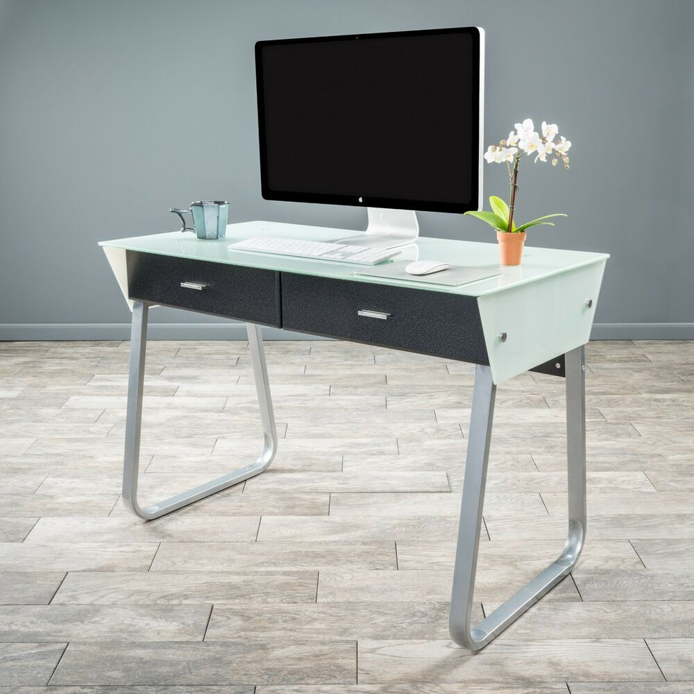 office furniture modern sleek double drawer white glass. Black Bedroom Furniture Sets. Home Design Ideas