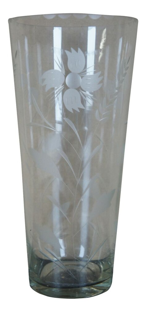 Large round etched frosted flowers floral designs clear glass home decor vase ebay - Great decorative flower vase designs ...