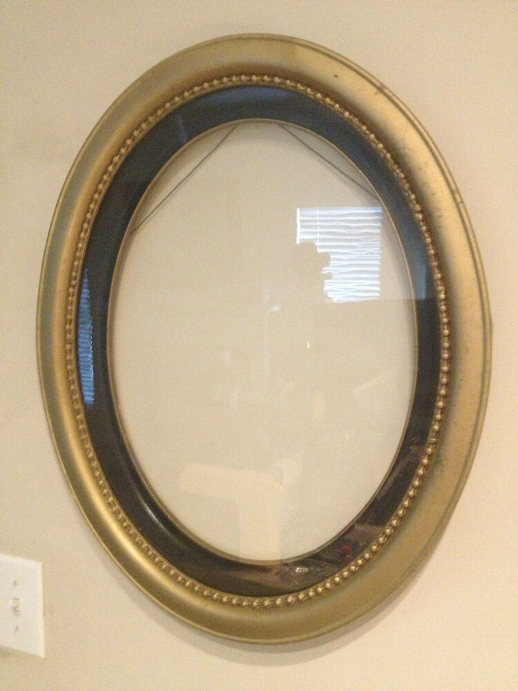 Antique Wood Amp Gesso Carved Oval Bubble Wavey Glass