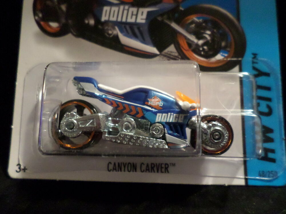 Hw hot wheels 2015 hw city 48 250 canyon carver police motorcycle